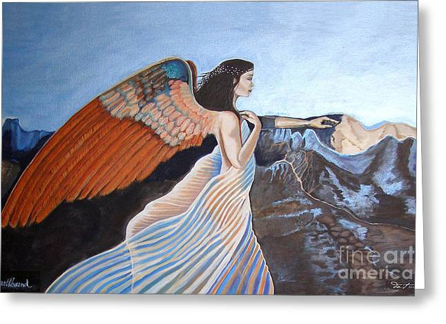 Seraphim Angel Paintings Greeting Cards - Earthbound Vers 1 Greeting Card by Dia T