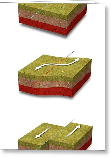 Fault Greeting Cards - Earthquake movements, artwork Greeting Card by Science Photo Library