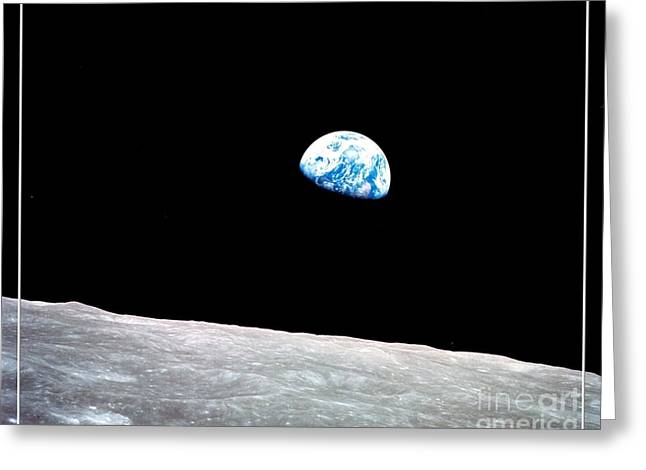 Intergalactic Space Greeting Cards - Earthrise NASA Greeting Card by Rose Santuci-Sofranko