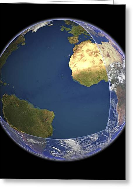 Planet Earth Greeting Cards - Earths atmosphere, cutaway Earth globe Greeting Card by Science Photo Library