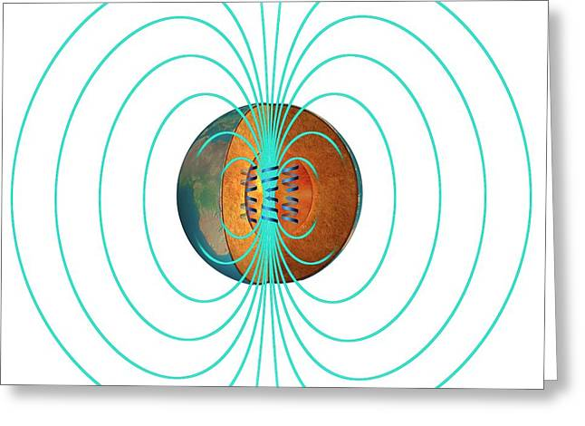 Earth's Magnetic Field Greeting Card by Claus Lunau