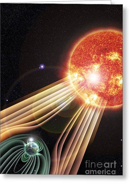 Sun Shield Greeting Cards - Earths Magnetosphere, Artwork Greeting Card by Science Photo Library