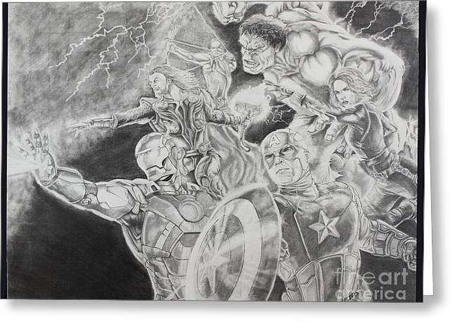 Thor Drawings Greeting Cards - Earths Mightiest Heroes Greeting Card by Chris Volpe