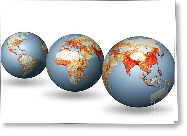 Worlds Population Greeting Cards - Earths Population, Artwork Greeting Card by Carlos Clarivan
