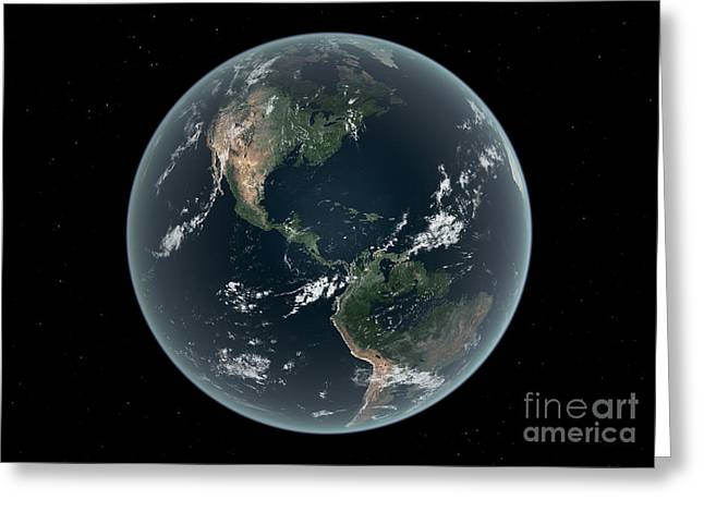 Earths Western Hemisphere With Rise Greeting Card by Walter Myers