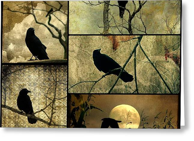 Crow Image Greeting Cards - Earthy Crows Greeting Card by Gothicolors Donna Snyder