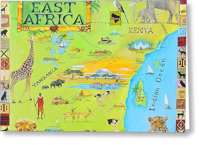 Canmore Artist Greeting Cards - East Africa Greeting Card by Virginia Ann Hemingson