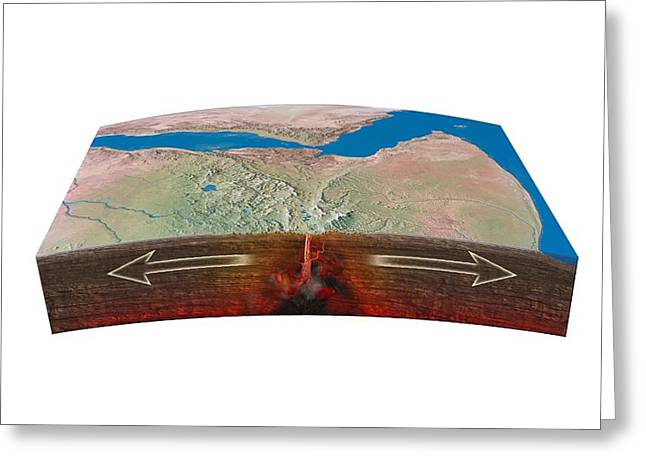 Northern Africa Greeting Cards - East African Rift tectonics, artwork Greeting Card by Science Photo Library