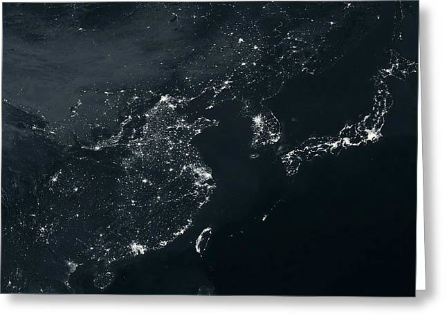 Planet Earth Greeting Cards - East asia at night Greeting Card by Science Photo Library