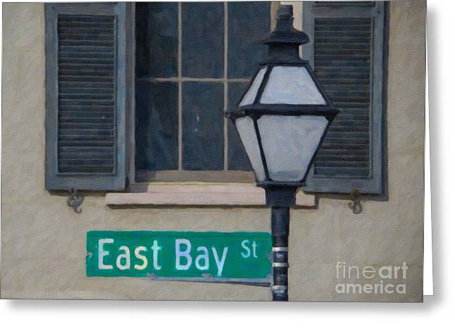 Ledge Mixed Media Greeting Cards - East Bay Street Greeting Card by Dale Powell