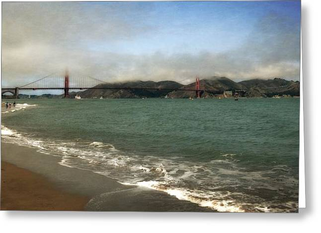 Famous Bridge Greeting Cards - East Beach and Golden Gate Greeting Card by Michelle Calkins