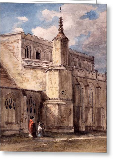 Ecclesiastical Architecture Greeting Cards - East Bergholt Church, Northside Greeting Card by John Constable