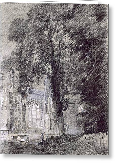Ecclesiastical Architecture Greeting Cards - East Bergholt Church - West End Greeting Card by John Constable