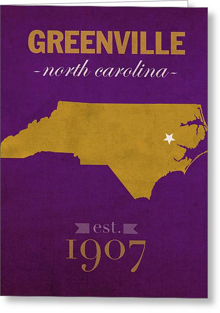 Carolina Mixed Media Greeting Cards - East Carolina University Pirates Greenville NC College Town State Map Poster Series No 036 Greeting Card by Design Turnpike