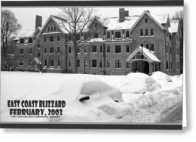 Bryn Mawr Greeting Cards - East Coast Blizzard Greeting Card by Mike Moore FIAT LUX