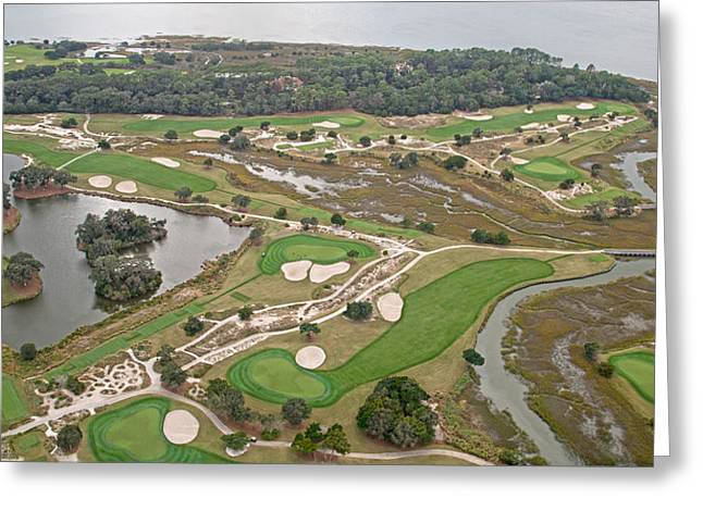 Golf Aerials Greeting Cards - East Coast Georgia Golf Course Greeting Card by Betsy C  Knapp