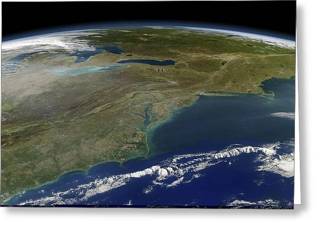 New England Ocean Greeting Cards - East coast of the USA, satellite image Greeting Card by Science Photo Library