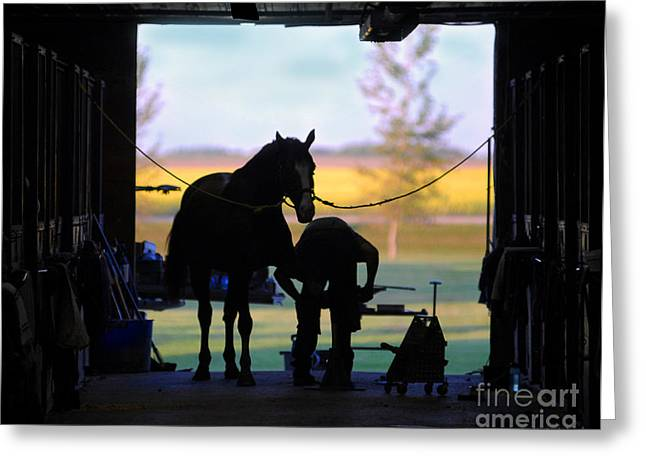 Farrier Greeting Cards - East Door Farrier Greeting Card by Judy Wood