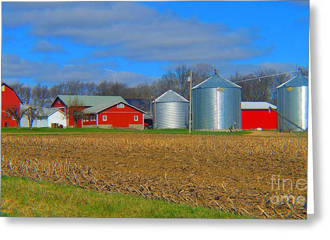 Moral Greeting Cards - East Elkhart County Farm Greeting Card by Tina M Wenger