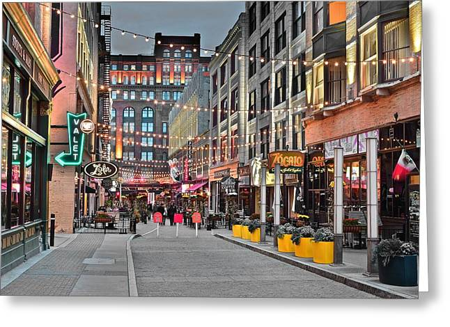 East Fourth Street In Cleveland Greeting Card by Frozen in Time Fine Art Photography
