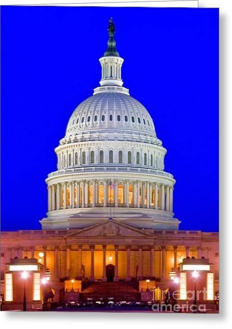 Night Lamp Greeting Cards - East Front Of Us Capitol Building Greeting Card by Spencer Grant