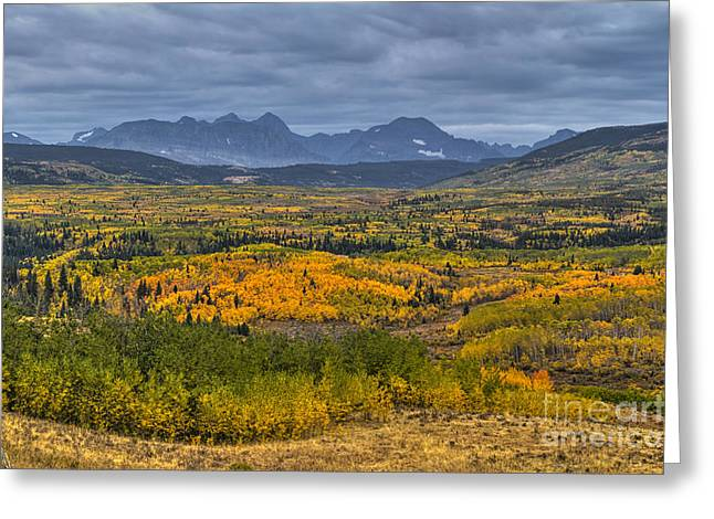 Many Glacier Greeting Cards - East Glacier Autumn Colors Greeting Card by Mark Kiver