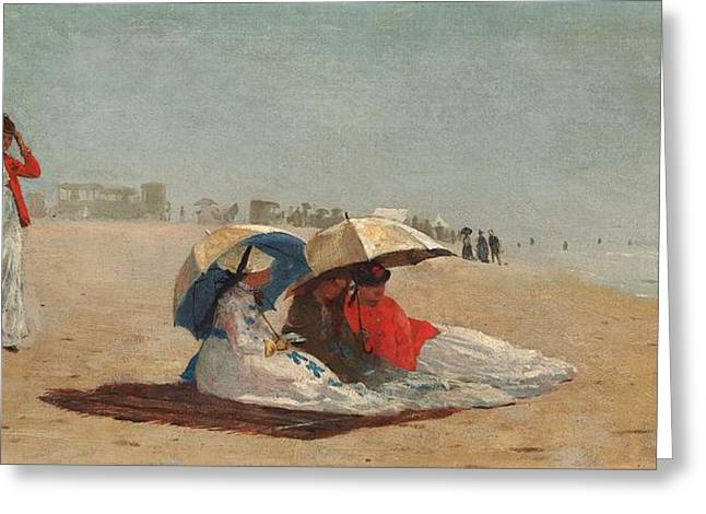 East Hampton Paintings Greeting Cards - East Hampton Beach on Long Island 1874 Greeting Card by Winslow Homer