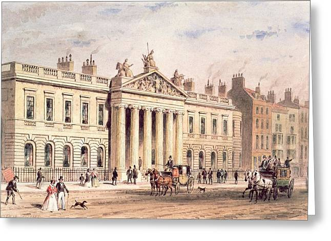 Coach Greeting Cards - East India House, Leadenhall Street, London, C.1820 Wc See Also 15501 Greeting Card by Thomas Hosmer Shepherd
