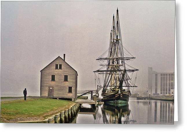 Tall Ships Greeting Cards - East Indiaman in The Fog Greeting Card by Tom Gari Gallery-Three-Photography