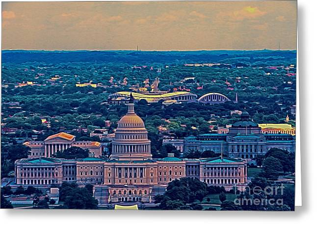 Republican Greeting Cards - East Of The Capitol  Greeting Card by Dawn Gari