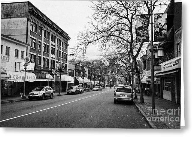 North Vancouver Greeting Cards - east pender street in chinatown Vancouver BC Canada Greeting Card by Joe Fox
