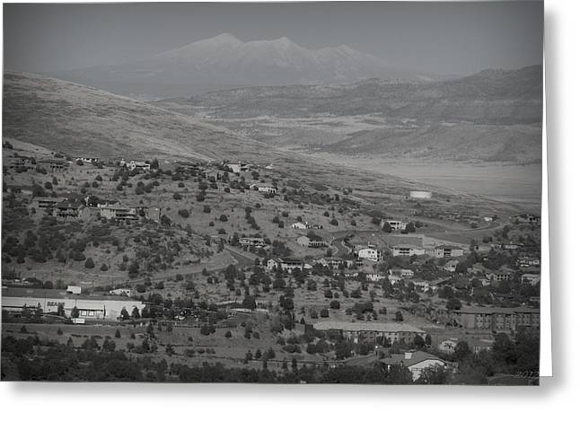 Prescott Greeting Cards - East Prescott Black and White Greeting Card by Aaron Burrows