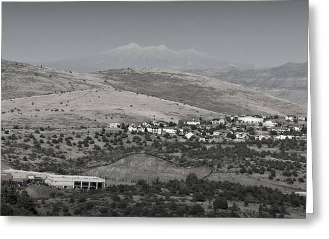 Prescott Greeting Cards - East Prescott Black and White Panoramic Greeting Card by Aaron Burrows