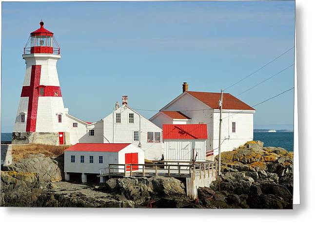 East Quoddy Lighthouse Greeting Cards - East Quoddy Lighthouse Campebello Island CAN Greeting Card by Lena Hatch