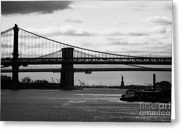 Manhatan Greeting Cards - East River New York City Brooklyn Manhattan Bridges Greeting Card by Joe Fox
