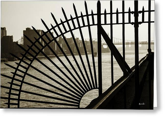 Spokes Greeting Cards - East River Spoke - New York City Greeting Card by Madeline Ellis