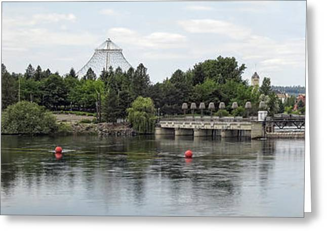 Clocktower Greeting Cards - East RIVERFRONT PARK and DAM - SPOKANE WASHINGTON Greeting Card by Daniel Hagerman