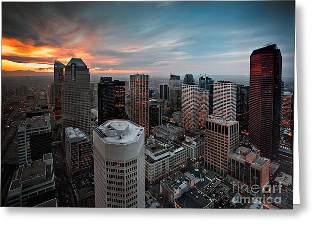 City Scapes Framed Prints Greeting Cards - East Skyline Calgary Greeting Card by Tula Edmunds