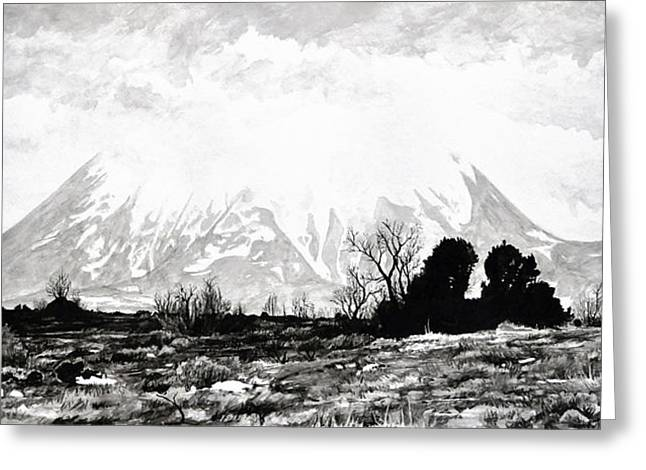 Storm Clouds Drawings Greeting Cards - East Spanish Peak Greeting Card by Aaron Spong