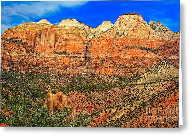 Navajo Basin Greeting Cards - East Temple Greeting Card by Robert Bales