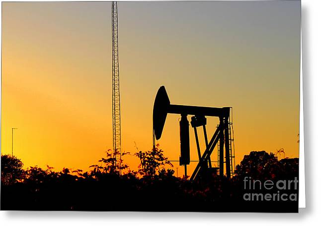 East Texas Pumpjack At Sunset Greeting Card by Kathy  White