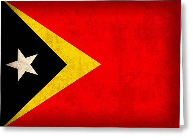 National Mixed Media Greeting Cards - East Timor Flag Vintage Distressed Finish Greeting Card by Design Turnpike