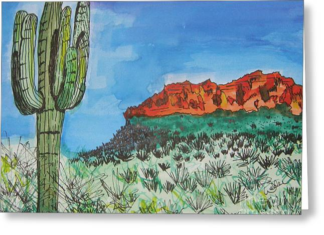 Marcia Weller-wenbert Greeting Cards - East Valley Mountains Greeting Card by Marcia Weller-Wenbert
