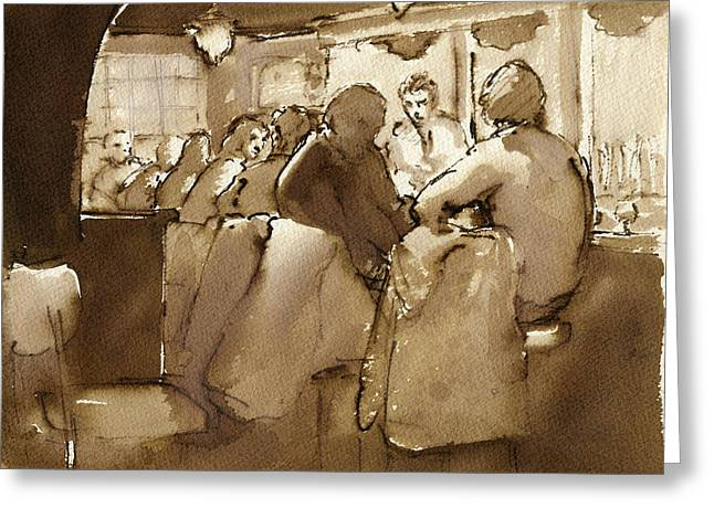 1980s Drawings Greeting Cards - East Village Bar 1984 Greeting Card by Thor Wickstrom