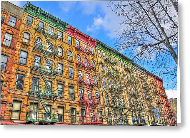 Ev Greeting Cards - East Village Buildings on East Fourth Street and Bowery Greeting Card by Randy Aveille