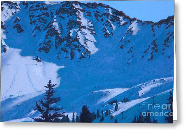 Ski Art Greeting Cards - East Wall Greeting Card by Drew Gibson