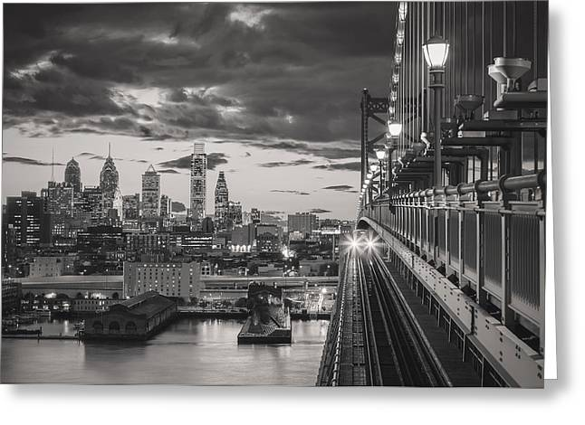 Night Lamp Greeting Cards - Eastbound Encounter in black and white Greeting Card by Eduard Moldoveanu