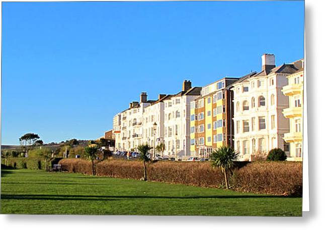 Purchase Greeting Cards - Eastbourne King Edwards Parade Panorama Greeting Card by Art Photography