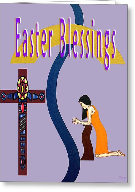 Knelt Mixed Media Greeting Cards - Easter 6 Greeting Card by Patrick J Murphy
