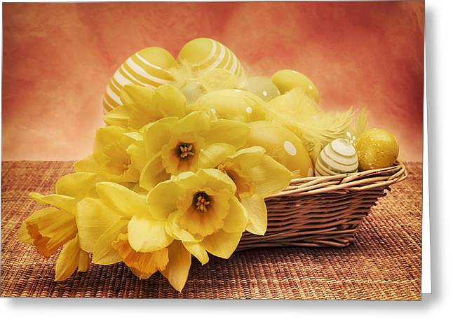 Easter Flowers Greeting Cards - Easter Basket Greeting Card by Wim Lanclus